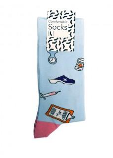 Calcetines Happy Instrumentos Médicos para Mujer Azul Rosa