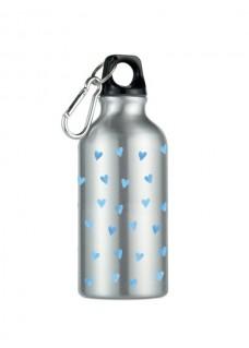 Botella Bidón Corazones Azules Plateada