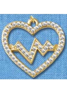 Colgante Latido de Corazón Dorado (grande)
