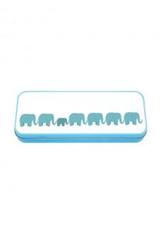 Estuche Metálico Azul Elefantes