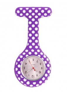 Reloj enfermera Polka Dots Morado