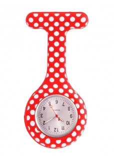 Reloj enfermera Polka Dots Rojo