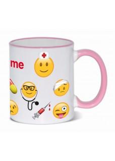Taza Emoji Nurse con tu Nombre Rosa