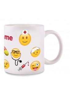 Taza Emoji Nurse con tu Nombre