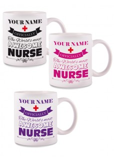 Taza Awesome Nurse con tu Nombre