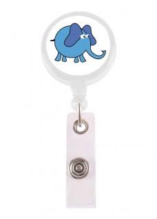 Porta Credenciales Retráctil Elefante Azul