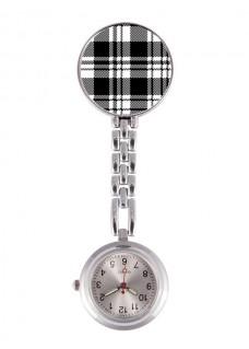 Reloj Enfermera Tartan Negro