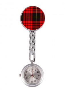 Reloj Enfermera Tartan Rojo