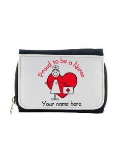 Cartera Monedero Proud to be a Nurse con tu Nombre