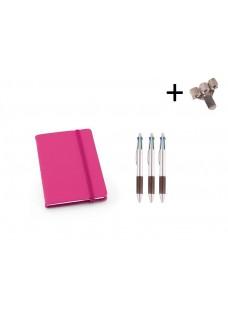 Set Cuaderno A6 + Bolis Rosa