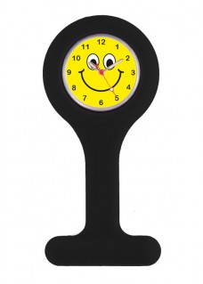 Reloj para Enfermera Silicona Negro Happy Face