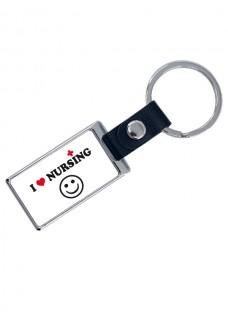 Llavero Cuero-Metal Love Nursing con tu Nombre