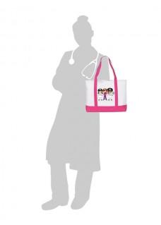 Bolso de enfermería de lona Grande 3 enfermeras Rosa