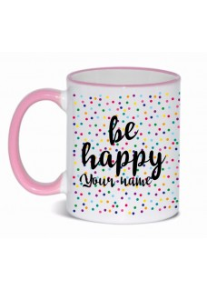 Taza Be Happy Rosa
