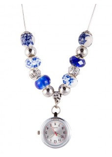 Reloj Collar con Perlas Antique Azul