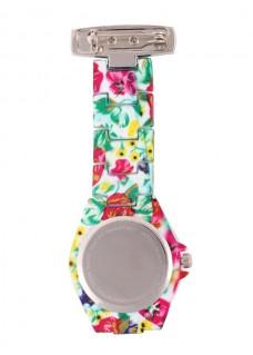 Reloj para enfermeras Flower Glamour Blanco