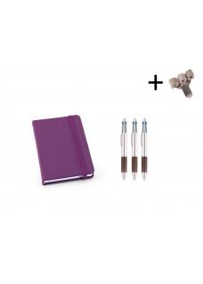 Set Cuaderno A6 + Bolis Morado