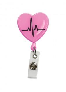 Yoyo Retráctil Porta Tarjeta Corazón ECG Rosa