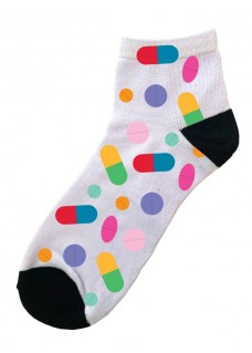 Calcetines Tobilleros Símbolos Píldoras de Colores