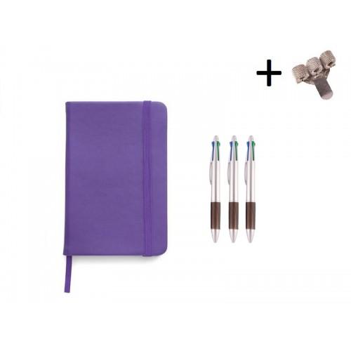 Set Cuaderno A5 + Bolis Morado