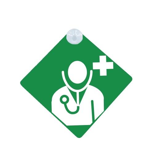 Cartel con Ventosa para Coche Doctor Verde