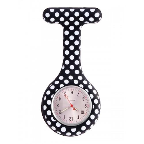 Reloj enfermera Polka Dots Negro