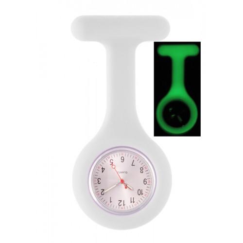 Reloj Enfermera Silicona Fluorescente Blanco