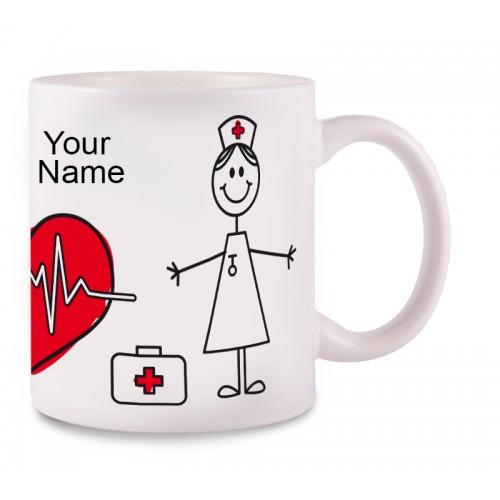 Taza Stick Nurse con tu Nombre