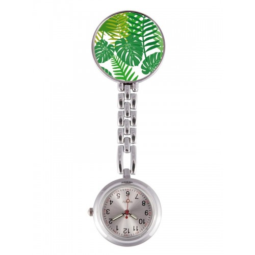 Reloj Enfermera Hojas Tropicales