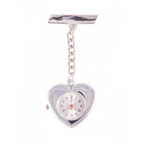 Reloj Enfermera Corazón Plata