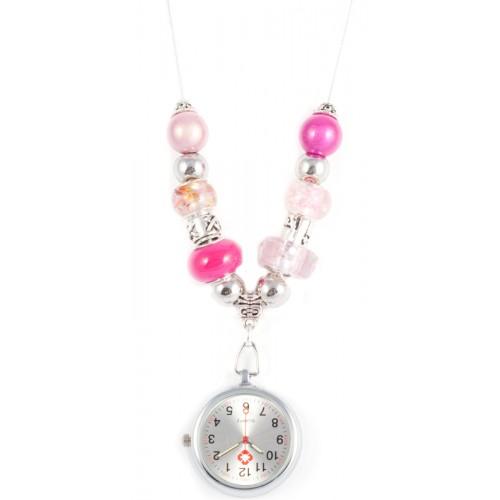 Reloj Collar con Perlas Rosas