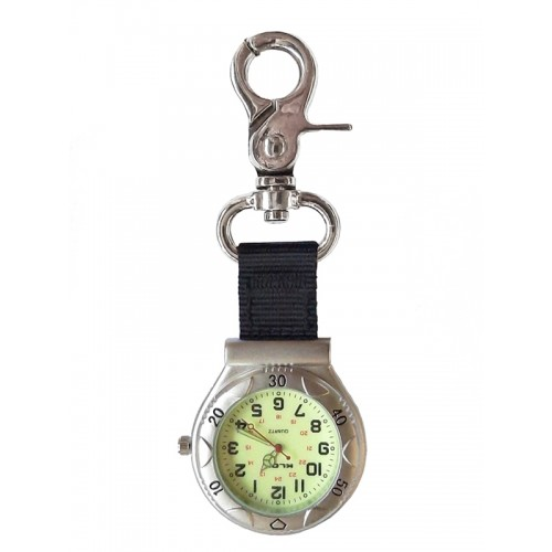 Reloj de Bolsillo con Mosquetón NOC457 Plateado