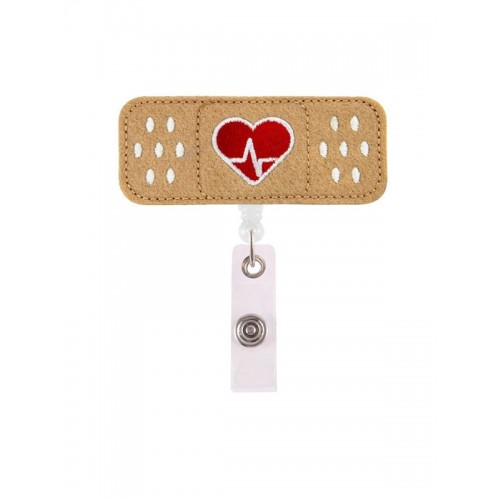 Pinza Porta tarjetas ID Retráctil Tirita Corazón