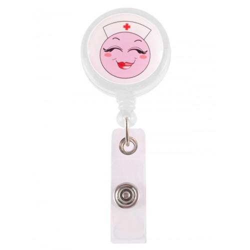 Porta Credenciales Retráctil Happy Enfermera