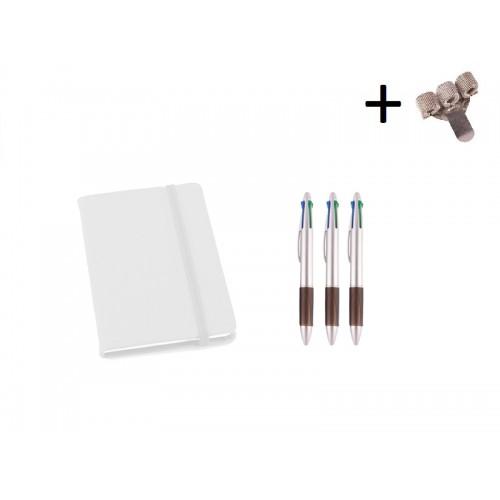 Set Cuaderno A6 + Bolis Blanco